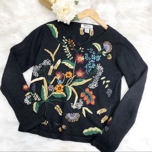VTG Floral Embroidered Knit Sweater Sz M ::
